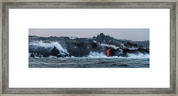 Framed Print featuring the photograph Lava Entering The Sea IIi by William Dickman
