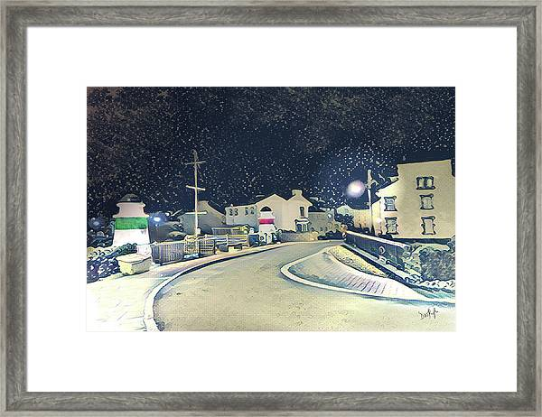 Laxey New Bridge On A Winter's Night Framed Print