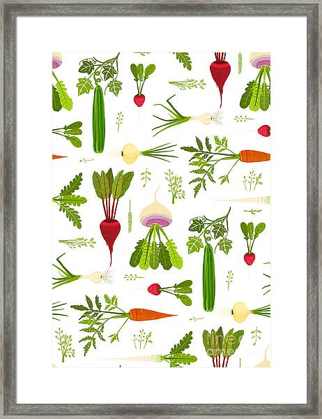 Leafy Vegetables And Greens Seamless Framed Print