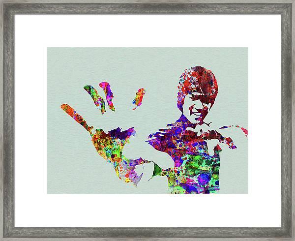 Legendary Bruce Lee Watercolor Framed Print
