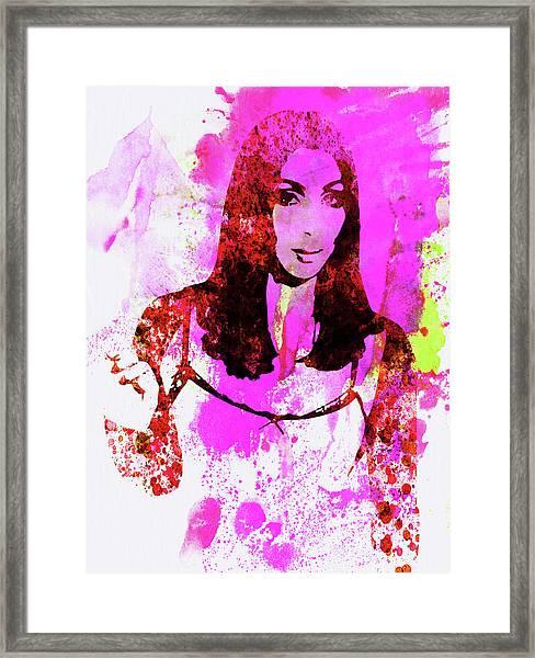 Legendary Cher Watercolor Framed Print