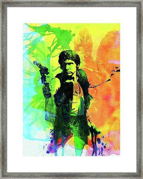 Legendary Han Solo Watercolor Framed Print