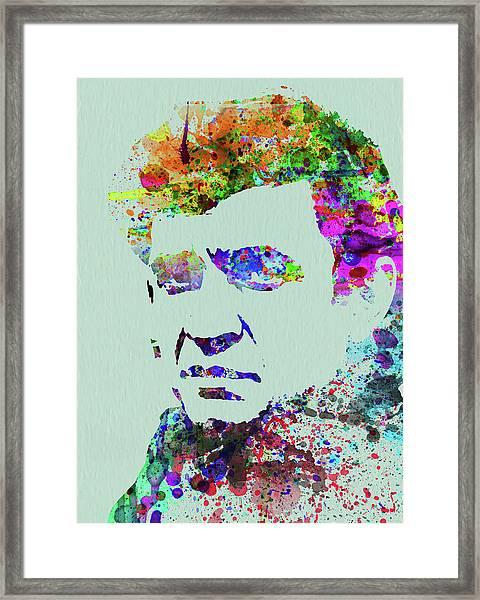 Legendary Johnny Cash Watercolor Framed Print