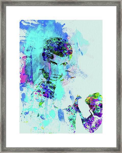 Legendary Muhammad Ali Watercolor Framed Print