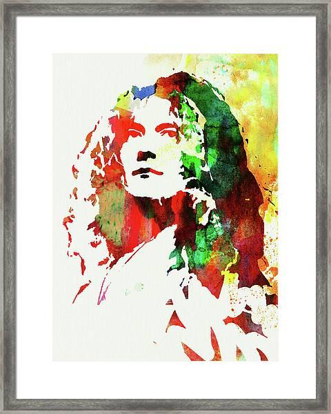 Legendary Robert Plant Watercolor Framed Print