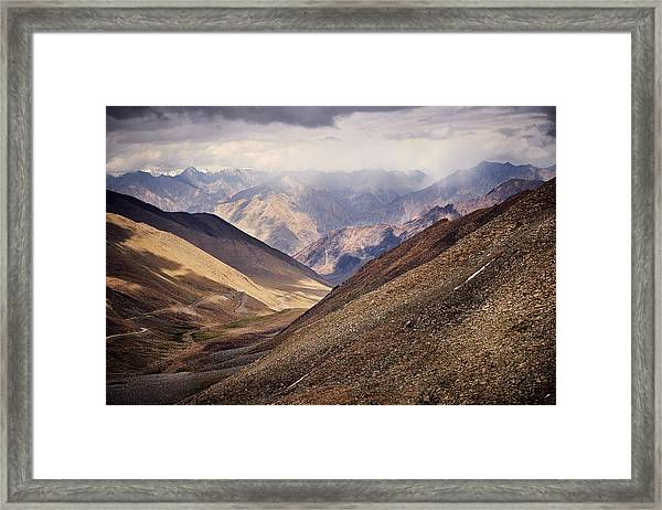 Framed Print featuring the photograph Leh-manali Mountains by Whitney Goodey