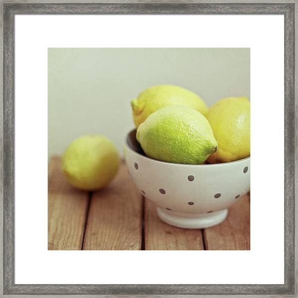 Lemons In Bowl Framed Print