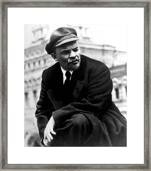 Lenin At Parade In Red Square Framed Print