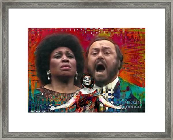 Leontyne Price  And Luciano Pavarotti Framed Print
