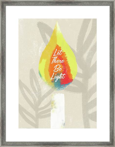 Let There Be Light Candle- Art By Linda Woods Framed Print