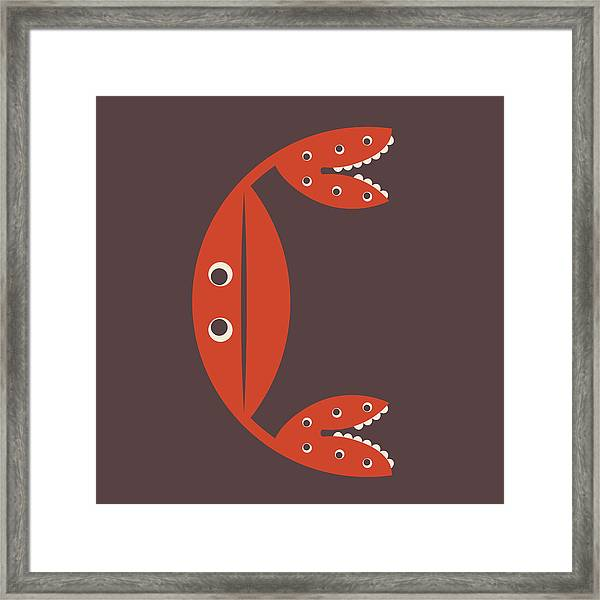 Letter C - Animal Alphabet - Crab Monogram Framed Print
