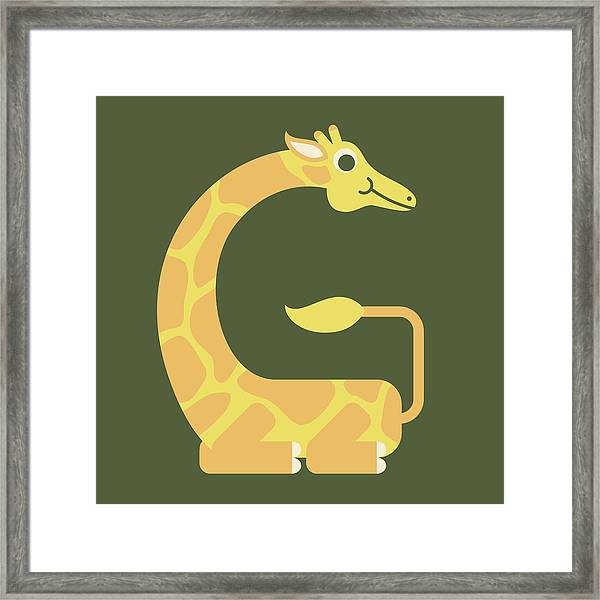 Letter G - Animal Alphabet - Giraffe Monogram Framed Print