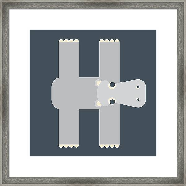 Animal Alphabet - Letter H - Hippo Monogram Framed Print