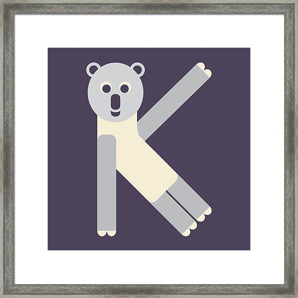 Letter K - Animal Alphabet - Koala Monogram Framed Print