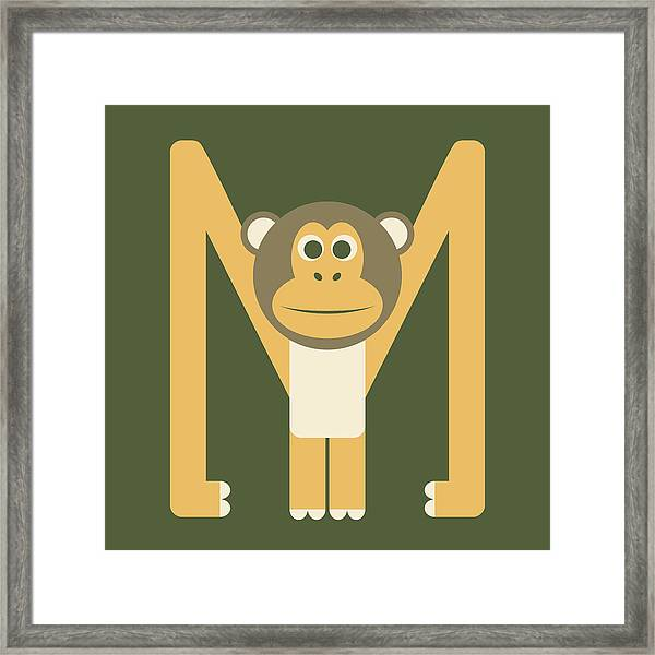 Letter M - Animal Alphabet - Monkey Monogram Framed Print