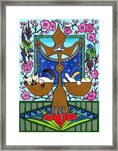 Libra Cat Zodiac Framed Print