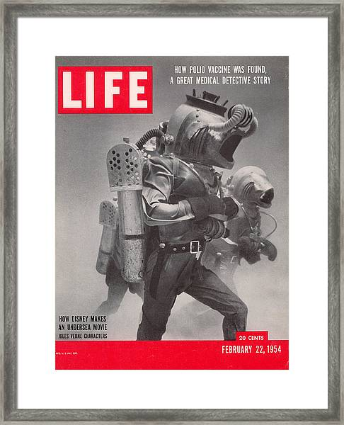 Life Cover 02-22-1954 Underwater Shot Framed Print