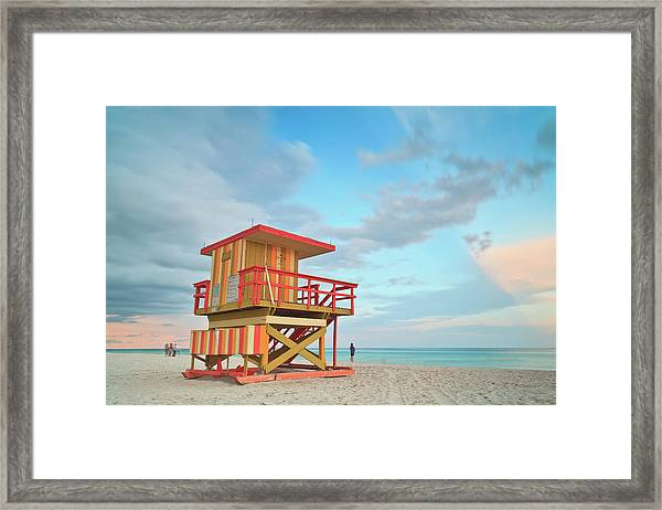 Life Guard Station With Cloudy Sky Framed Print