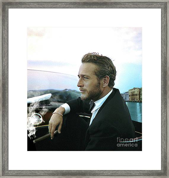 Life Is A Journey, Paul Newman, Movie Star, Cruising Venice, Enjoying A Cuban Cigar Framed Print