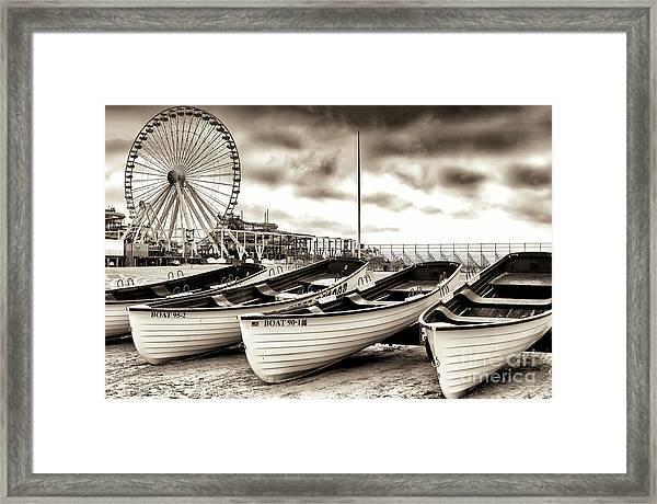Lifeguard Boats At Wildwood New Jersey Framed Print