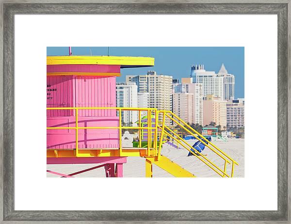 Lifeguard Station On South Beach Framed Print