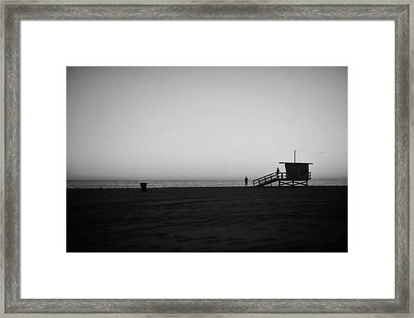 Lifeguard Tower In Santa Monica Framed Print by Stephen Albanese