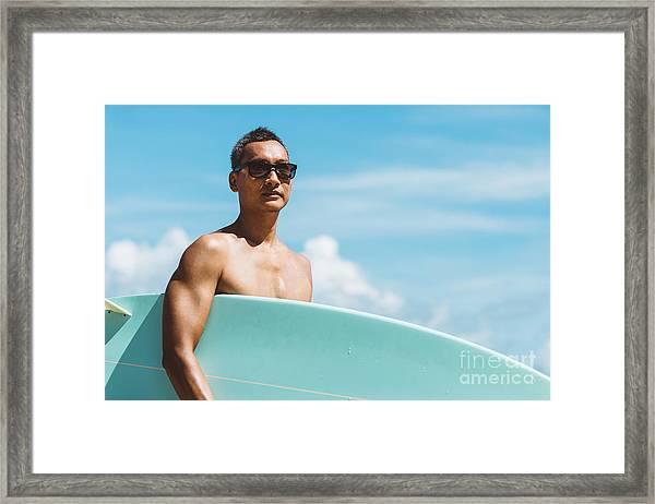 Lifestyle Series  Asian Man Holding Framed Print