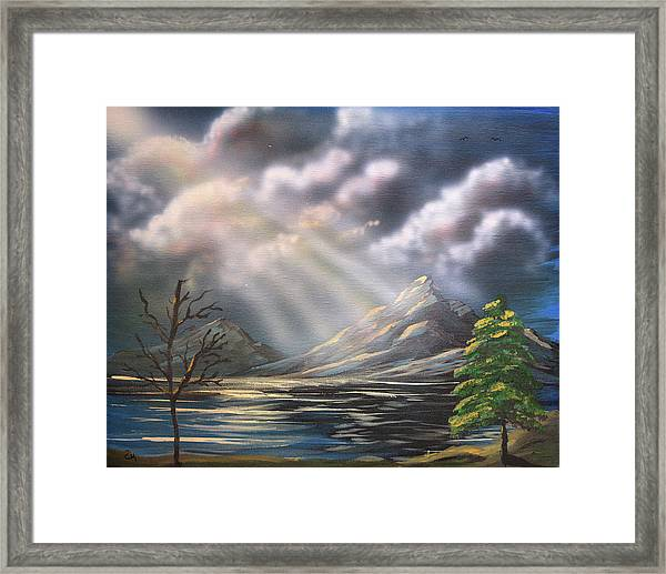 Framed Print featuring the painting Light From Above by Chance Kafka