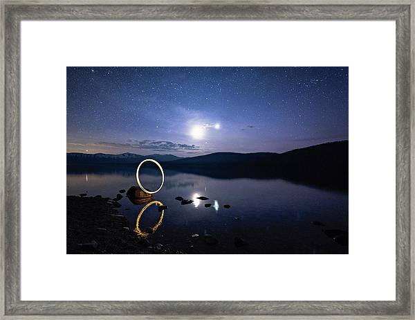 Light Painting Lake Mcdonald Framed Print