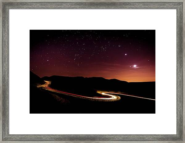 Light Trails And Stars Cape With Venus Framed Print