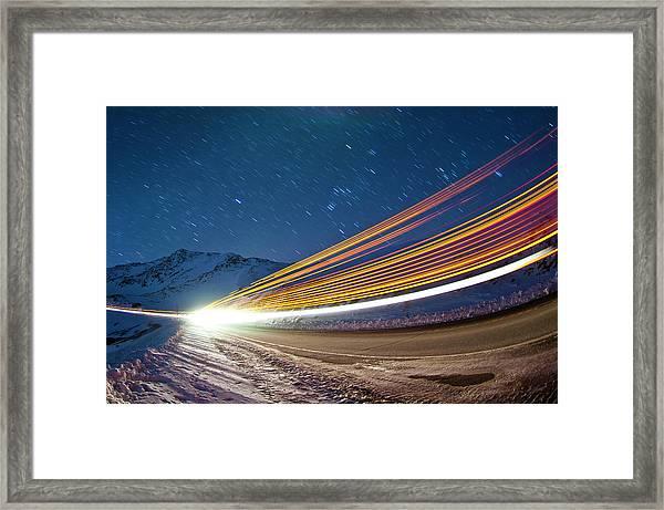 Light Trails On Loveland Pass Framed Print