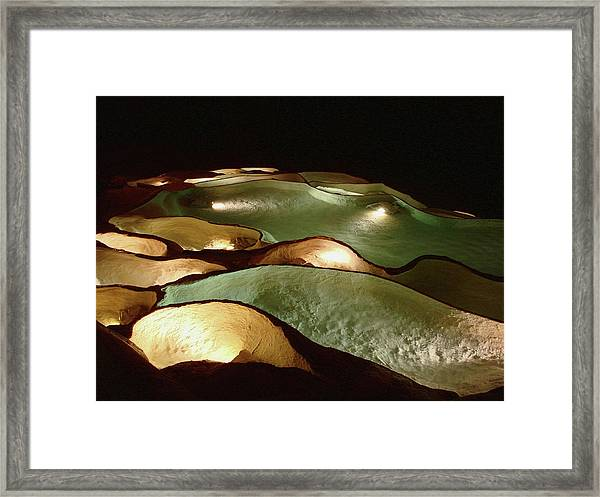 Light Up The Dark - Lit Natural Rock Water Basins In Underground Cave Framed Print