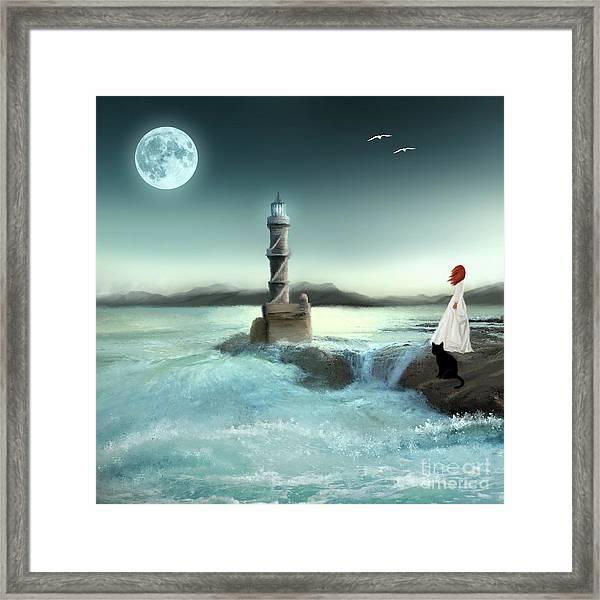 Lighthouse At Full Moon Framed Print