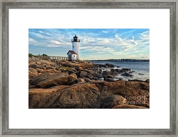 Lighthouse At Sunset Off Annisquam Framed Print