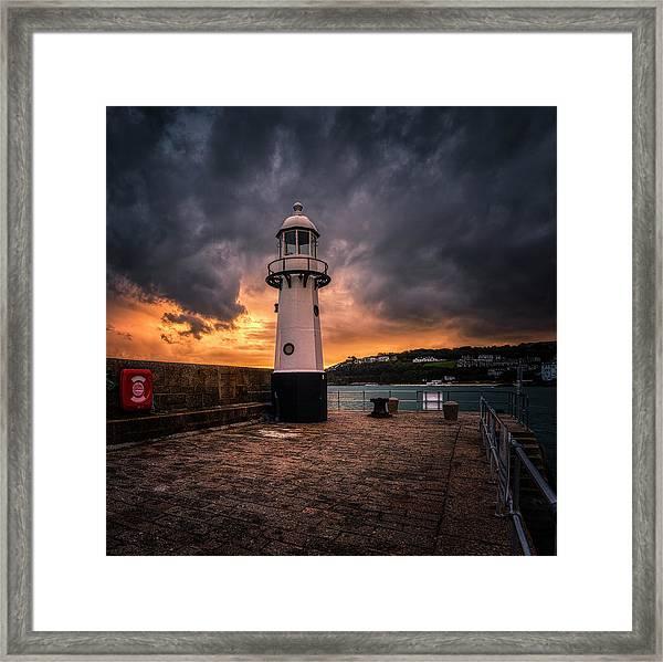 Lighthouse Dramatic Sky Framed Print
