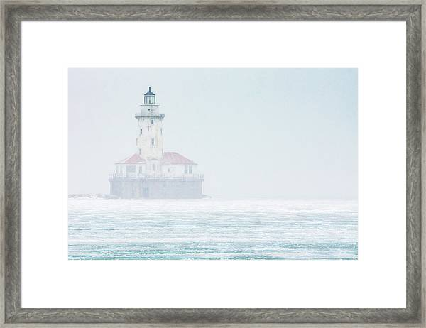 Lighthouse In The Mist Framed Print