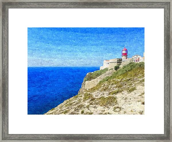 Lighthouse On Top Of A Cliff Overlooking The Blue Ocean On A Sunny Day, Painted In Oil On Canvas. Framed Print