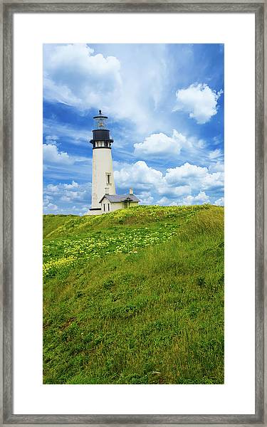 Lighthouse On  Yaquina Head  Framed Print