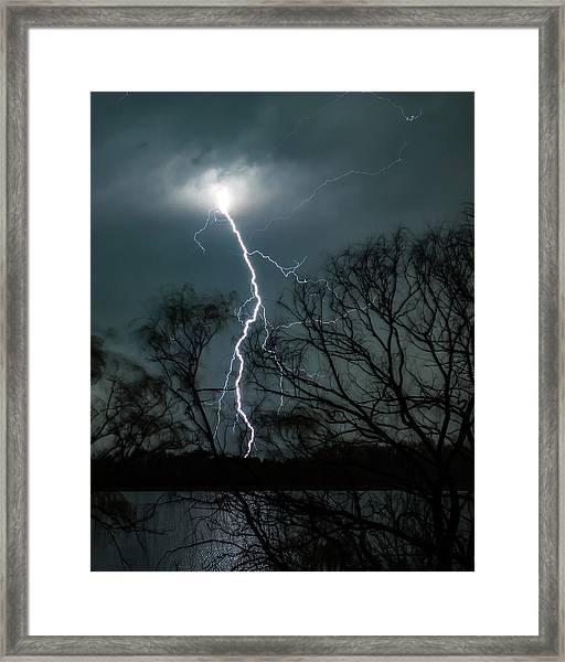 Lightning Bolt Over Little Sugarloaf Framed Print
