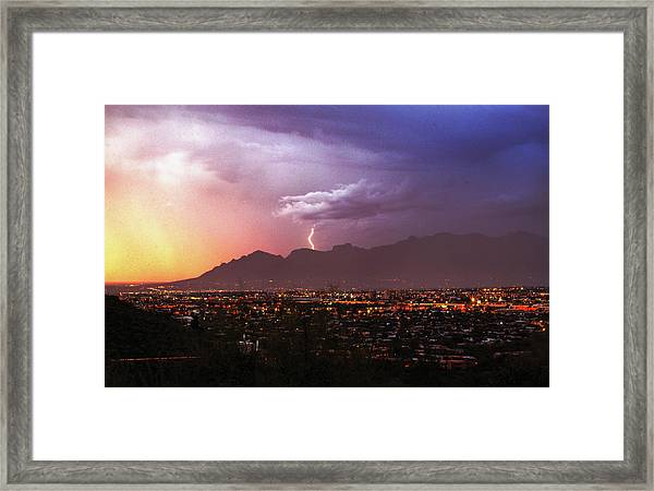 Lightning Bolt Over The Santa Catalina Mountains And Tucson, Arizona Framed Print
