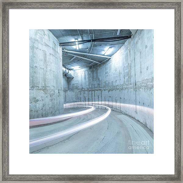 Lights Of The Moving Car In The Framed Print
