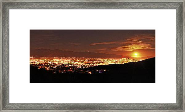Lights Of Tucson And Moonrise Framed Print