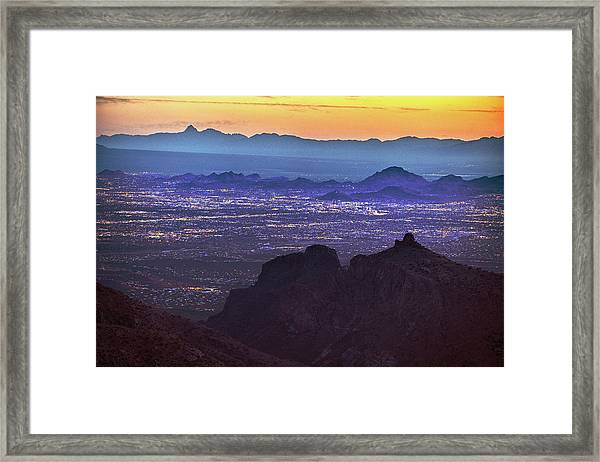 Framed Print featuring the photograph Lights Of Tucson At Twilight  by Chance Kafka