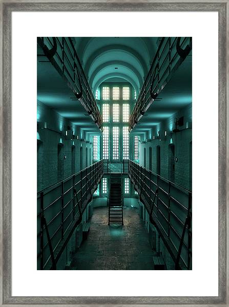 Framed Print featuring the digital art Lincoln Castle Prison In Blue by Scott Lyons