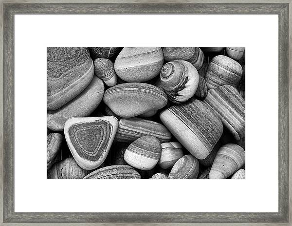 Lined Rocks And Shell Framed Print