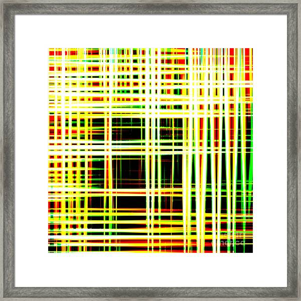 Lines And Squares In Color Waves - Plb418 Framed Print