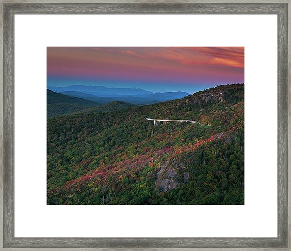 Linn Cove Pink And Blue Framed Print