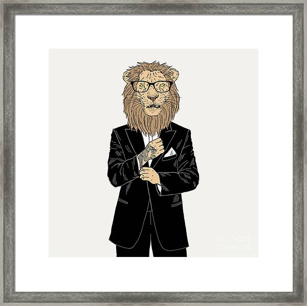 Lion Dressed Up In Tuxedo With Tattoo Framed Print by Olga angelloz