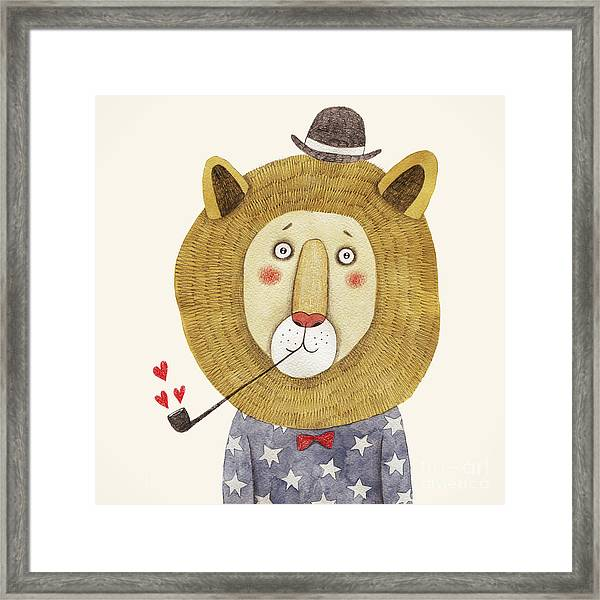 Lion In Hat And With A Pipe Drawing Framed Print