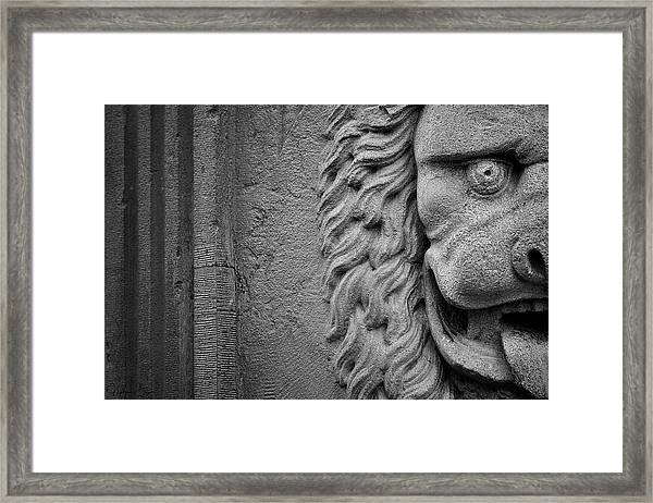 Lion Statue Portrait Framed Print
